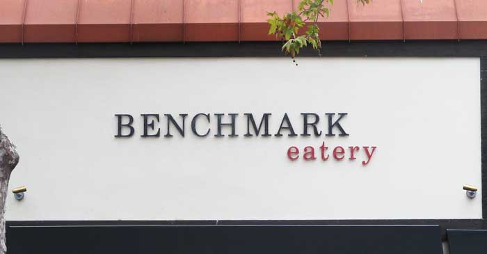 Benchmark Eatery, Santa Barbara, CA, sign closeup using dimensional lettering by Dave's Signs