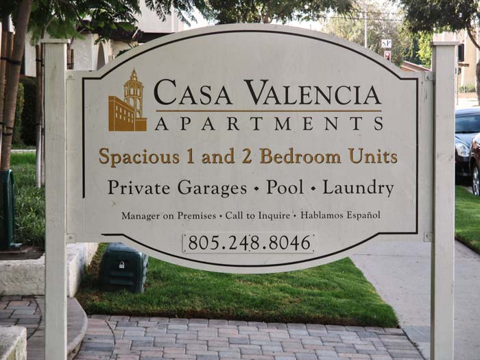 Casa Valencia Apartments Post & Panel Monument Sign