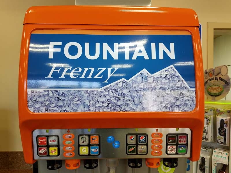 Gas Station Signs - Interior Custom Graphics - Fountain Frenzy Soda Machine