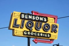 Benson's Liquor Neon Pole Sign Los Angeles. Neon Sign Renovation