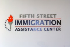 Fifth Street Immigration Assistance Center Interior Office Sign in Ventura