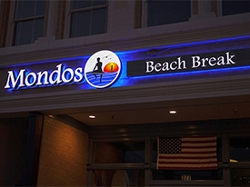 Mondo's Beach Break Iluminated Channel Letter Sign in Ventura