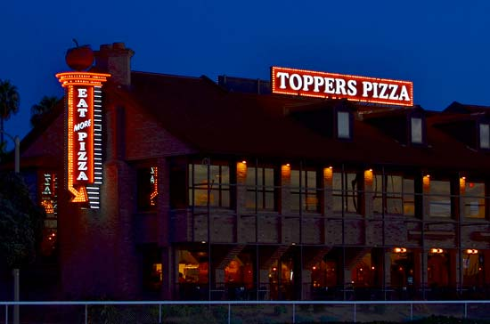 Toppers Pizza Exposed Neon Sign Oxnard
