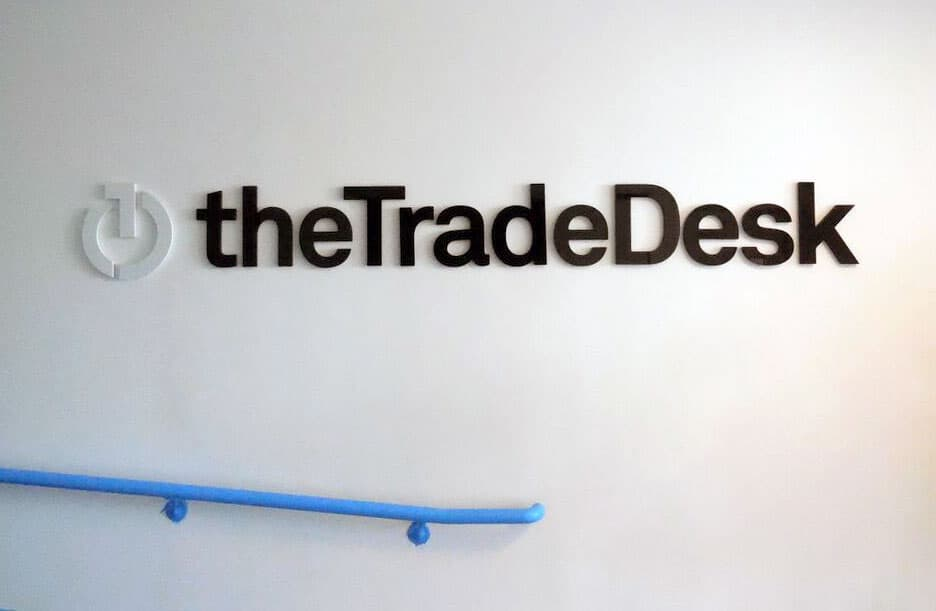 Interior branding sign at the Trade Desk in Ventura County